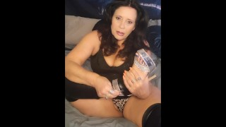 step-Mommy makes you smell her big stinky feet and stroke your cock