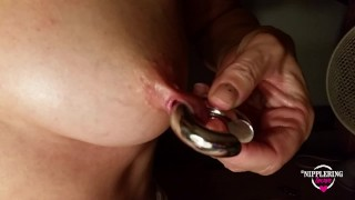 nippleringlover big heavy nipple rings in stretched nipple piercings - pierced tits - pierced pussy