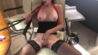 Sexy Mistress with big tits smokes hookah and masturbates with you