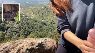 Holyday trekking - Amateur Spanish couple caught flashing strangers fucking in the nature