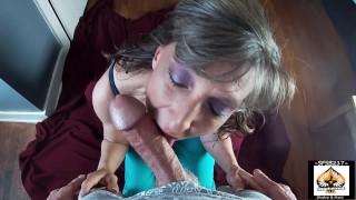 Granny Sucks A Big Cock Gets A Big Juicy Mouthful Of Cum