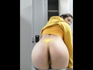 Horny Latina Strips Out Of Sweaty Gym Clothes In Public Gym