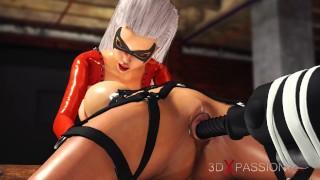 Hot 3d dickgirl bangs a sexy cuffed blonde in the basement