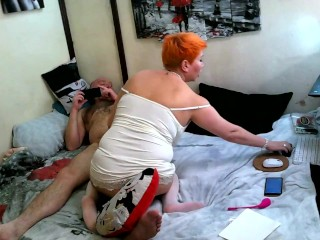 Bearded philosopher thoughtfully fucks a red-haired mature lustful whore, Dispel my longing, bitch!