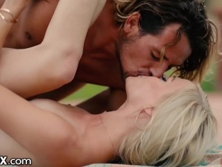 EroticaX – Beautiful Blonde Showered With Kisses & Caresses