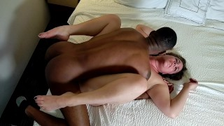 Hotwife gets pussy drilled by 10 inch BBC and Hubby missionary - BACK to BACK creampies