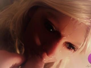Hot Blonde Real Doll gets fantastic Facial (4K)