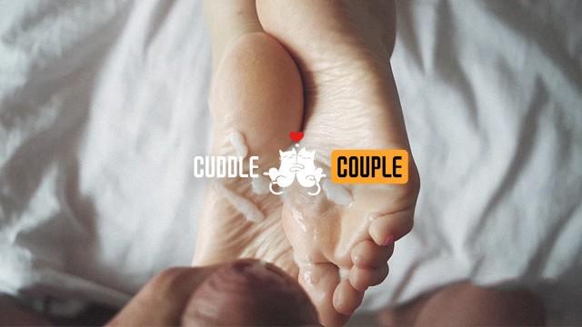 Cuddle Couple's footjob handjob cumpilation