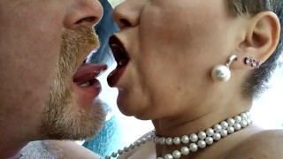 Fucking a mature Russian bitch with two dildos in both holes!