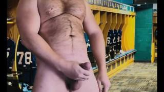 Football Jock Cums in Locker Room