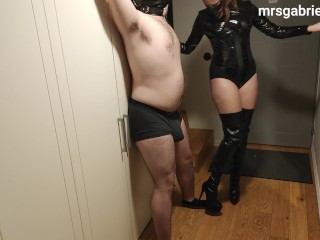 Ballbusting & CBT By Leather Mistress In Corset & Boots