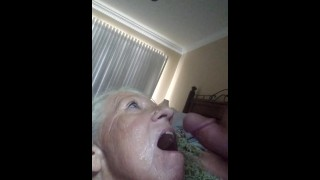 Granny Fucksalot waiting to be fed her protein