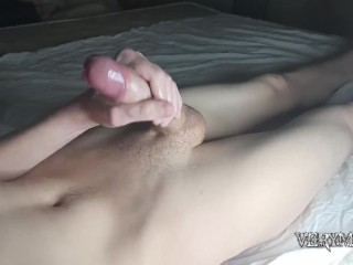 jerking off my big dick and cumming a lot solo male masturbating