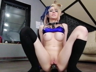 Ahegao Cosplay Akali goes crazy and Prolapsed her Ass till Squirt – full free