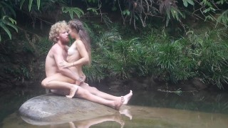 Wild man seduces beautiful girl in the Blue Lagoon and have amazing sex with her