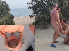 Old manSuck Fun and Cum on Public Beach - Amateur Older Younger