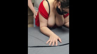 Bent step mom over table after dinner for a quicky Dads not home