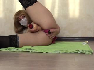Anal masturbation with dildo Mature slim hairy milf in stockings and heels