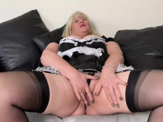 Cash Strapped Filthy Mature Maid enjoys stuffing Panties in her Pussy to sell
