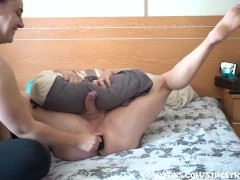 Babe Gives Lucky Guy Prostate Massage Handsfree Cum with Massive Butt Plug