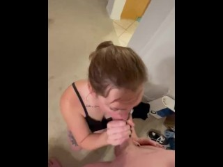 Redhead tattooed hottie gives a blowjob until I cum