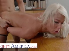 Naughty America - Hot MILF teacher, London River, hooks up with her student in the classroom for a p