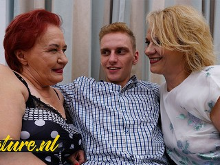 Two Horny Grandma's Invite a Big Dick Toyboy Over For Some Threesome Fun!