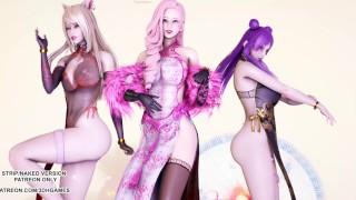 [MMD]Tougen Renka 桃源恋歌 Ahri Kaisa Seraphine Hot Erotic Dance 4K 60FPS