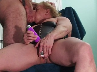 woman fucks herself and sucks cock with a facial