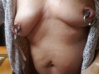 flashing my xxl nipple piercings and my little butt while naked in the kitchen doing household stuff
