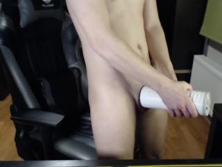 Fleshlight makes big cock CUM FAST (2 angles) – Lovense Max 2