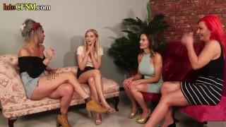 Busty CFNM femdom sucks dick for voyeur