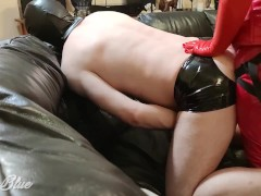 Fucking My Anal Slut Hubby in the Ass with a Dragon and Make Him Take a Creampie Pegging