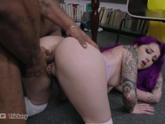 Trickery - Tatted Purple Hair Punk Tricks Janitor Into Sex