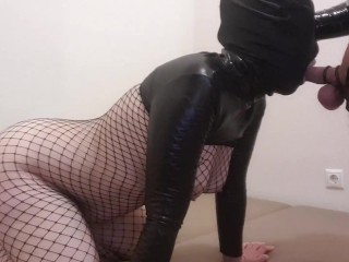 Sexy wife tease in shiny outfit & fishnet suck and gets fucked