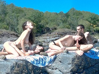 Hot Couple having Risky Sex on Public Beach and Bus - Huge Double Cumshot black amateur porn