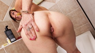 grandma takes a shower after cuckold sex