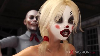 Joker bangs rough a cute sexy blonde in a clown mask in the abandoned room