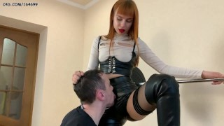 Worship and Lick My Pussy In Leather Shorts! With Mistress Kira in Stockings