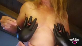 nippleringlver inserting gloves through stretched nipple piercings - pierced tits big nipple rings 2