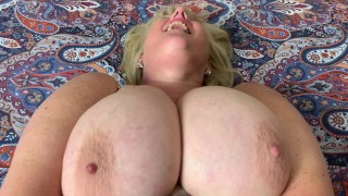 Horny Stepmom fingers her wet Pussy through her dirty Pantyhose
