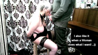 Naughty MILF bitch gives blowjob in handcuffs while kneeling! Real total orgasm control!