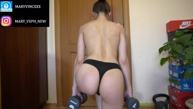 Fit girl in thong does workout