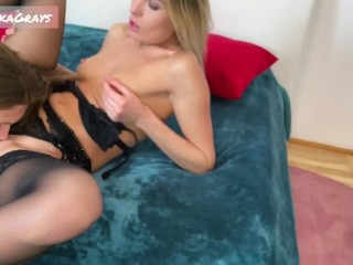 Two hot girls in sexy lingerie eat each other pussies