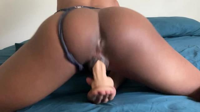 Ebony Teen Solo Dildo Orgasm