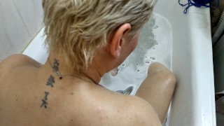 Busty mature bitch takes a shower, masturbates and sucks dick in the bathroom, sperm on tits & face!