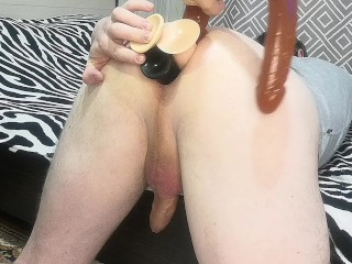 4 dildos in my slave's ass anal training femdom