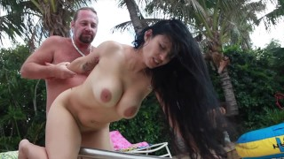 Big Tits and Round Ass Latina Mason Strom Sucks fucks Squirts on Original MILF Hunter Poolside