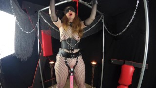 Redhead MILF bound and vibed with wand