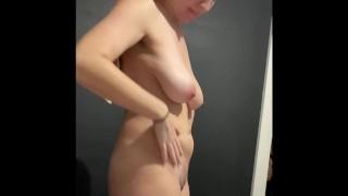 Nice saggy tits milf nurse getting dressed